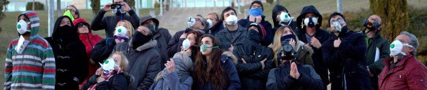 "Colaboradores de La Fuga durante la convocatoria ""Ni un respiro al cementerio nuclear""."